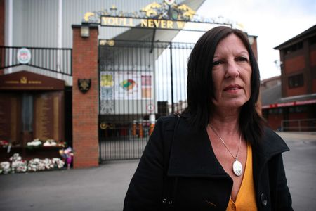 Anne Williams from the Hope for Hillsborough Campaign, outside Anfield LFC.
