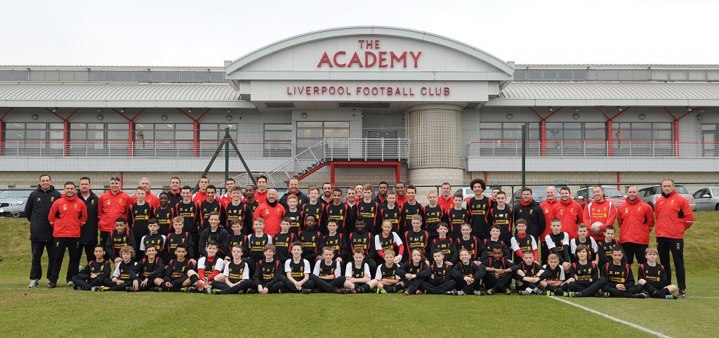 1 - LFC first team players and management at the LFC Academy with LFC's U12-14 teams on Tuesday 26 Feb 2013