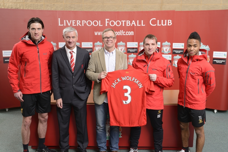 Martin Kelly, Ian Rush, Michael Rupp, Brendan Rodgers and Raheem Sterling