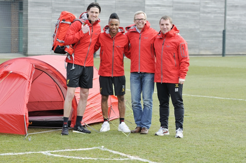 Martin Kelly, Raheem Sterling, Michael Rupp and Brendan Rodgers